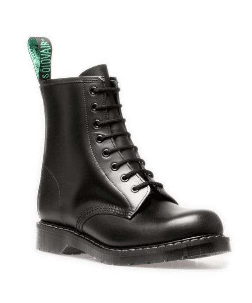 5012b15c5b5f Solovair 8 Eye Derby Boot Black Hi-Shine - Bennevis Clothing
