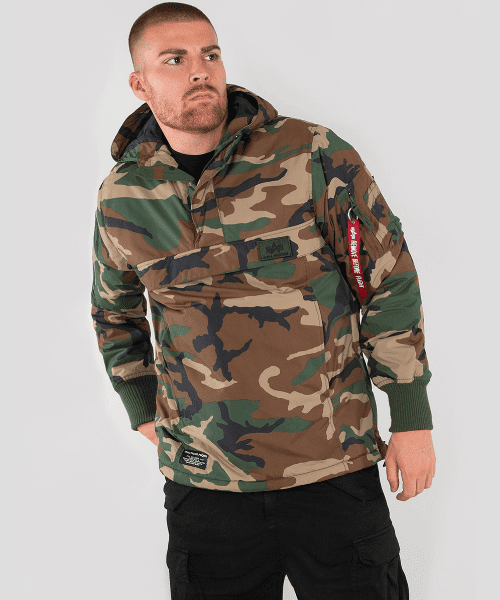 new product a308d 9f628 Alpha Industries WP Anorak Woodland Camo