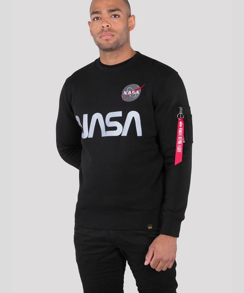 fa997540edfa2 Home / Hoodies/Sweaters/Gilet / Alpha Industries NASA Reflective Sweater  Black