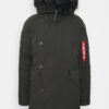 EXPLORER NEW FAUX FUR PARKER COAT ALPHA INDUSTRIES WINTER COAT BLACK OLIVE-1