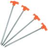 STEEL ROCK PEG-10 INCH-(PACK OF 4)-HIGHLANDER-METALLIC & ORANGE